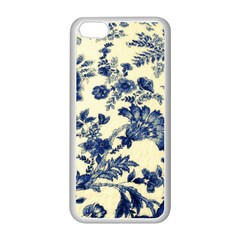 Vintage Blue Drawings On Fabric Apple Iphone 5c Seamless Case (white)