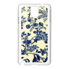 Vintage Blue Drawings On Fabric Samsung Galaxy Note 3 N9005 Case (white)