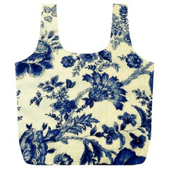 Vintage Blue Drawings On Fabric Full Print Recycle Bags (l)