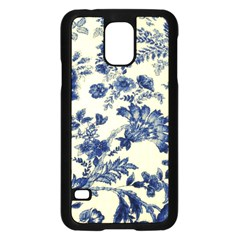 Vintage Blue Drawings On Fabric Samsung Galaxy S5 Case (black)