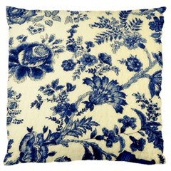 Vintage Blue Drawings On Fabric Large Flano Cushion Case (two Sides)