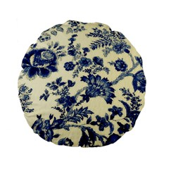 Vintage Blue Drawings On Fabric Standard 15  Premium Flano Round Cushions