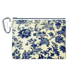 Vintage Blue Drawings On Fabric Canvas Cosmetic Bag (l)
