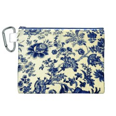 Vintage Blue Drawings On Fabric Canvas Cosmetic Bag (xl)