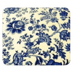 Vintage Blue Drawings On Fabric Double Sided Flano Blanket (small)