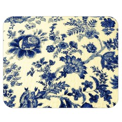 Vintage Blue Drawings On Fabric Double Sided Flano Blanket (medium)