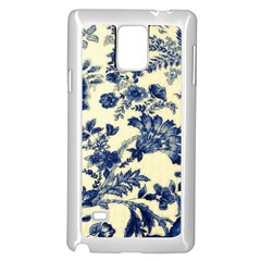 Vintage Blue Drawings On Fabric Samsung Galaxy Note 4 Case (white)