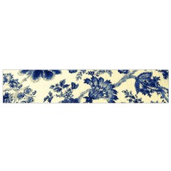 Vintage Blue Drawings On Fabric Flano Scarf (small)
