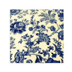 Vintage Blue Drawings On Fabric Small Satin Scarf (square)