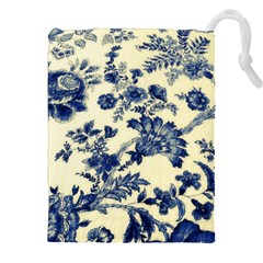 Vintage Blue Drawings On Fabric Drawstring Pouches (xxl)