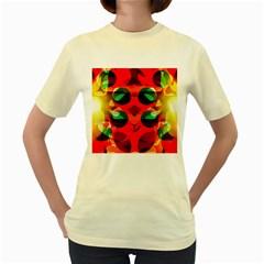 Abstract Digital Design Women s Yellow T Shirt