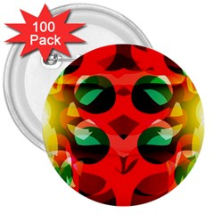 Abstract Digital Design 3  Buttons (100 Pack)