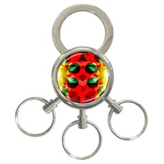 Abstract Digital Design 3 Ring Key Chains