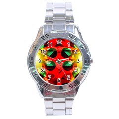 Abstract Digital Design Stainless Steel Analogue Watch