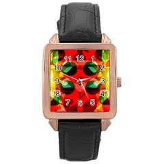 Abstract Digital Design Rose Gold Leather Watch
