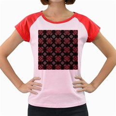 Abstract Black And Red Pattern Women s Cap Sleeve T Shirt