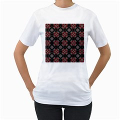 Abstract Black And Red Pattern Women s T Shirt (white) (two Sided)