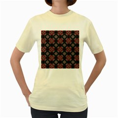 Abstract Black And Red Pattern Women s Yellow T Shirt
