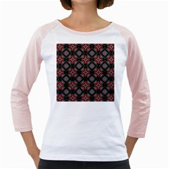 Abstract Black And Red Pattern Girly Raglans