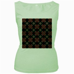 Abstract Black And Red Pattern Women s Green Tank Top