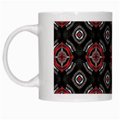 Abstract Black And Red Pattern White Mugs