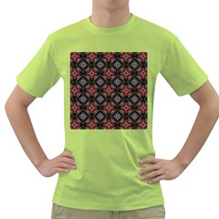Abstract Black And Red Pattern Green T Shirt