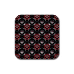 Abstract Black And Red Pattern Rubber Square Coaster (4 Pack)