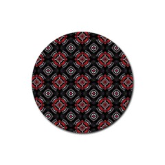 Abstract Black And Red Pattern Rubber Round Coaster (4 Pack)