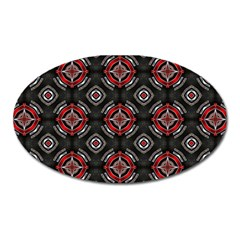 Abstract Black And Red Pattern Oval Magnet