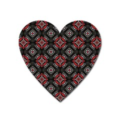 Abstract Black And Red Pattern Heart Magnet