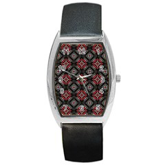 Abstract Black And Red Pattern Barrel Style Metal Watch