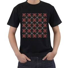 Abstract Black And Red Pattern Men s T Shirt (black) (two Sided)