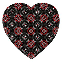 Abstract Black And Red Pattern Jigsaw Puzzle (heart)