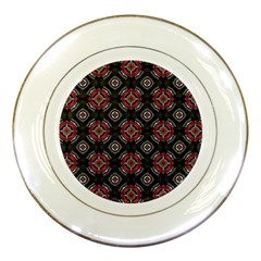 Abstract Black And Red Pattern Porcelain Plates