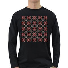Abstract Black And Red Pattern Long Sleeve Dark T Shirts