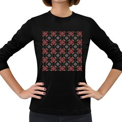 Abstract Black And Red Pattern Women s Long Sleeve Dark T Shirts