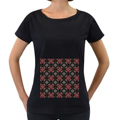 Abstract Black And Red Pattern Women s Loose Fit T Shirt (black)