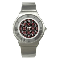 Abstract Black And Red Pattern Stainless Steel Watch