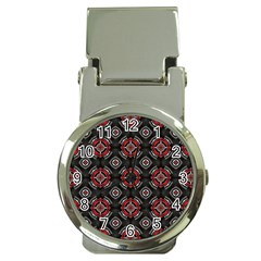 Abstract Black And Red Pattern Money Clip Watches