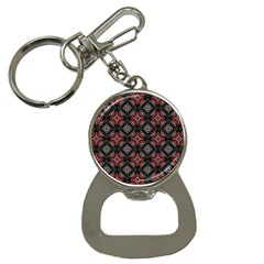 Abstract Black And Red Pattern Button Necklaces
