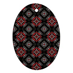 Abstract Black And Red Pattern Oval Ornament (two Sides)