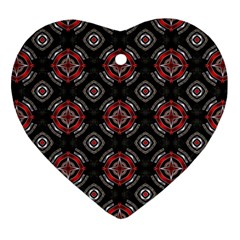 Abstract Black And Red Pattern Heart Ornament (two Sides)