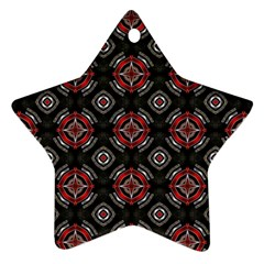 Abstract Black And Red Pattern Star Ornament (two Sides)