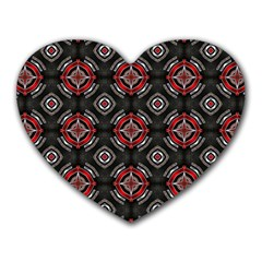 Abstract Black And Red Pattern Heart Mousepads