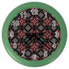 Abstract Black And Red Pattern Color Wall Clocks