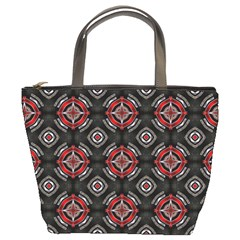 Abstract Black And Red Pattern Bucket Bags