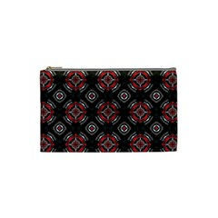 Abstract Black And Red Pattern Cosmetic Bag (small)