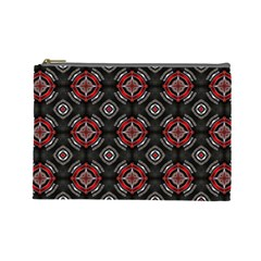 Abstract Black And Red Pattern Cosmetic Bag (large)