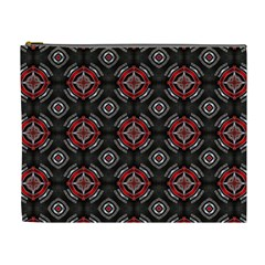 Abstract Black And Red Pattern Cosmetic Bag (xl)