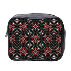 Abstract Black And Red Pattern Mini Toiletries Bag 2 Side